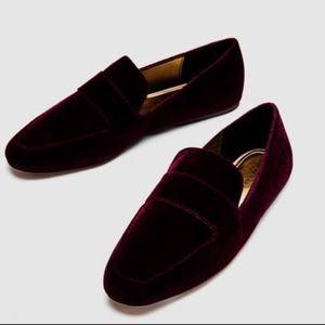 Zara Burgundy Velvet Slip On Casual Loafers Flats